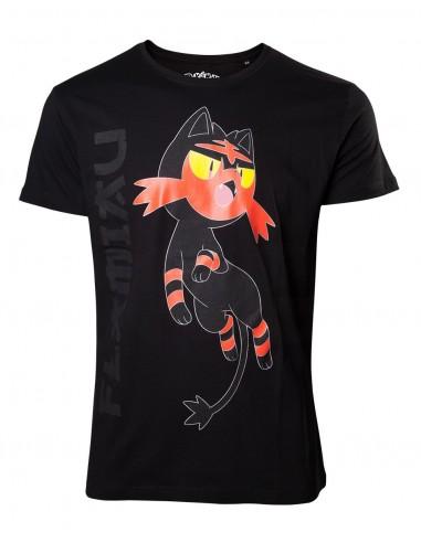 5959-Apparel - Camiseta Negra Pokemon Sun Moon Litten T-XS-8718526532241