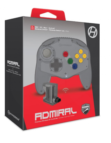 6086-Retro - Mando Wireless Admiral Premium para SW/PC/N64 Gris-0810007711232
