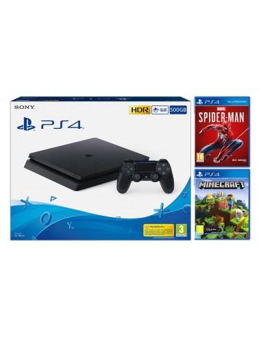 6887-PS4 - PS4 Consola 500 GB + Marvel Spiderman + Minecraft-8431305030393