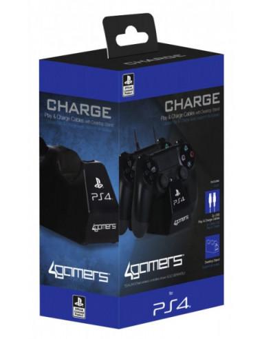 216-PS4 - Cargador Licenciado SONY 2 Mandos Cable NEGRO-5055269704058