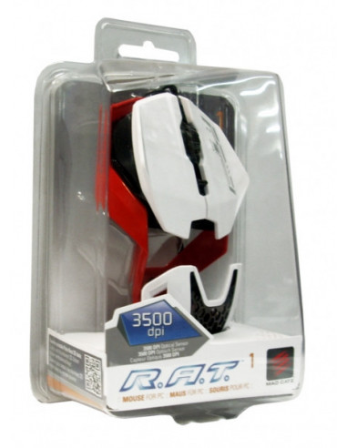 1724-PC - Mad Catz R.A.T. 1 Ratón - Blanco/Rojo-0728658048457