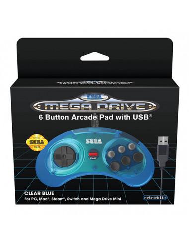 450-Retro - Mando Sega Mini 6-B Retro-Bit Azul (USB)-7350002937242