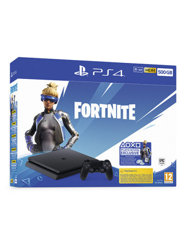 2962-PS4 - PS4 Consola Slim 500GB + Fortnite + Voucher + Lote de Neover-0711719940708