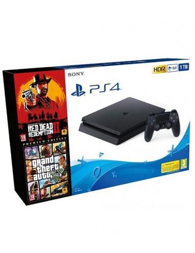 3586-PS4 - PS4 Consola Slim 1TB + Red Dead 2 + GTA V Premium -8431305029304