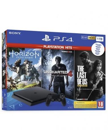 3650-PS4 - PS4 Consola Slim 1TB+ Pack Hits(Horizon/Uncharted4/LastofUs)-0711719931805