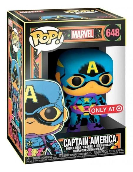 -4565-Figuras - Figura POP! Captain America Marvel (Black Light)-0889698488457