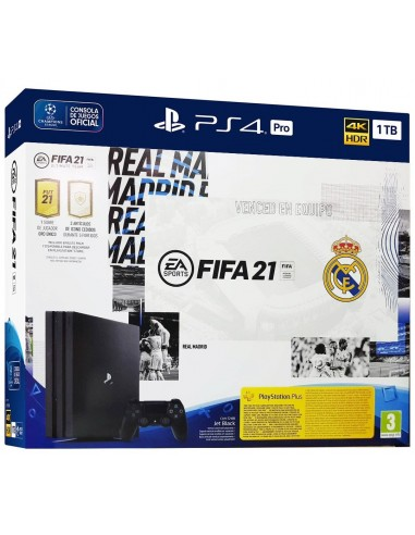 5190-PS4 - PS4 Consola Pro 1TB + FIFA 21 + PSN 14D - Ver. Real Madrid-0711719829829