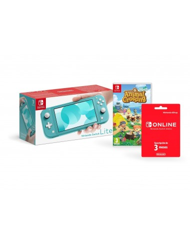 5450-Switch - Nint. Switch Consola Lite Azul Turq+ Animal Crossing + 3 mes-0045496453299
