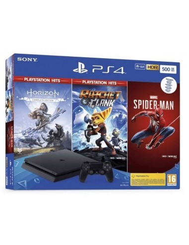 5477-PS4 - PS4 Consola 500GB+ Horizon Zero +Rachet&Clank +Spider-Man-0711719391807